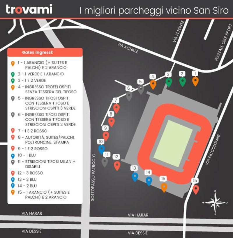 Dove parcheggiare vicino allo stadio di San Siro